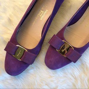 SALVATORE FERRAGAMO Vera Bow Pumps Purple Suede